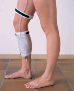 The daily wear catheter attaches to the leg